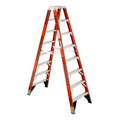 8 ft. Fiberglass Twin Step Ladder with 375 lb. Load Capacity Type IAA Duty Rating