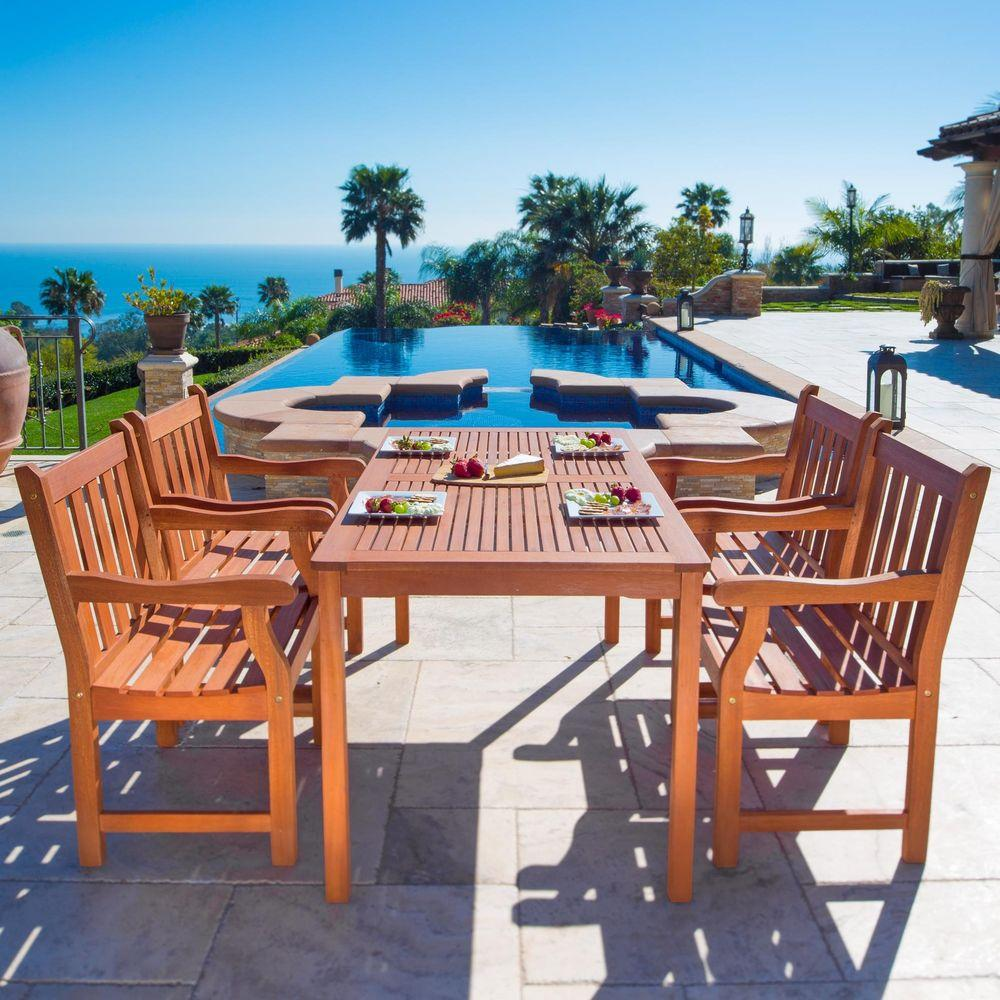 Vifah Roch Eucalyptus 5-Piece Patio Dining Set with 32 in. W Table and Slat-Back Armchairs
