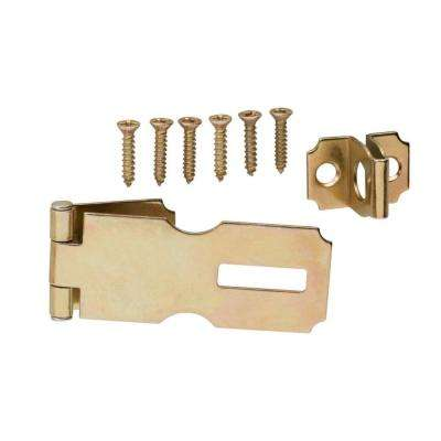 3-1/2 in. Satin Brass Fixed Staple Safety Hasp
