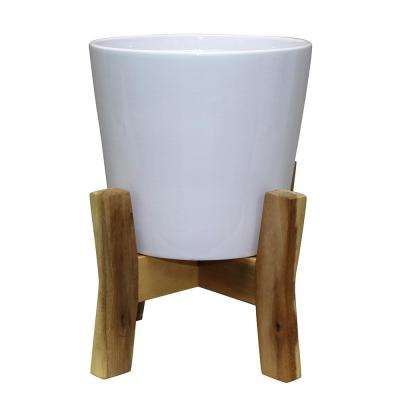 Contemporary 8 in. W x 11.02 in. H Ceramic Pot With Stand
