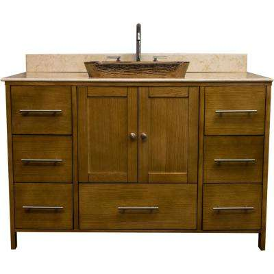 Manhattan 48.75 in. W x 22.25 in. D Bath Vanity in Bamboo with Granite Vanity Top in Beige with Cobalt Copper Basin