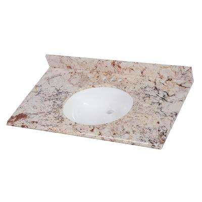 37 in. W x 22 in. D Stone Effects Vanity in Rustic Gold with White Sinks