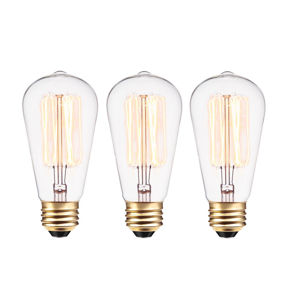 Globe Electric 40-Watt Vintage Edison S60 Squirrel Cage E26 Incandescent Filament Light Bulb - Antique Edison (3-Pack)