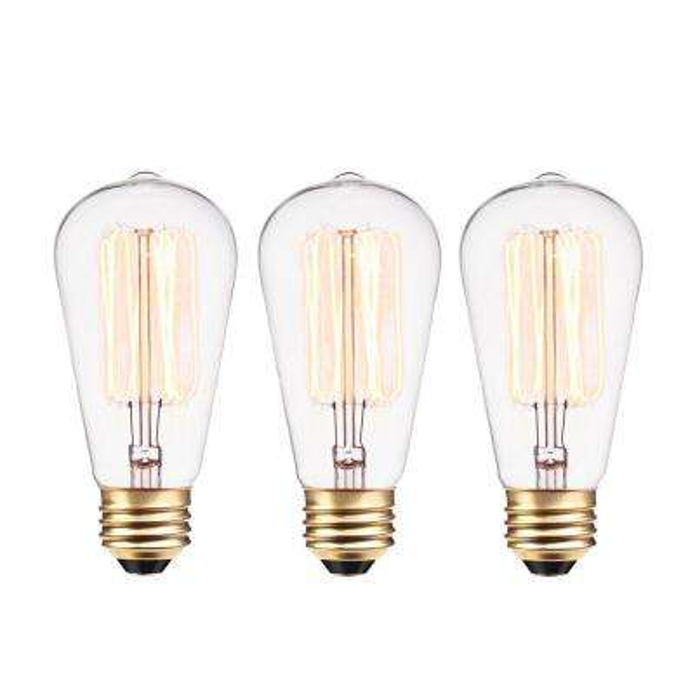 40-Watt Vintage Edison S60 Squirrel Cage E26 Incandescent Filament Light Bulb - Antique Edison (3-Pack)