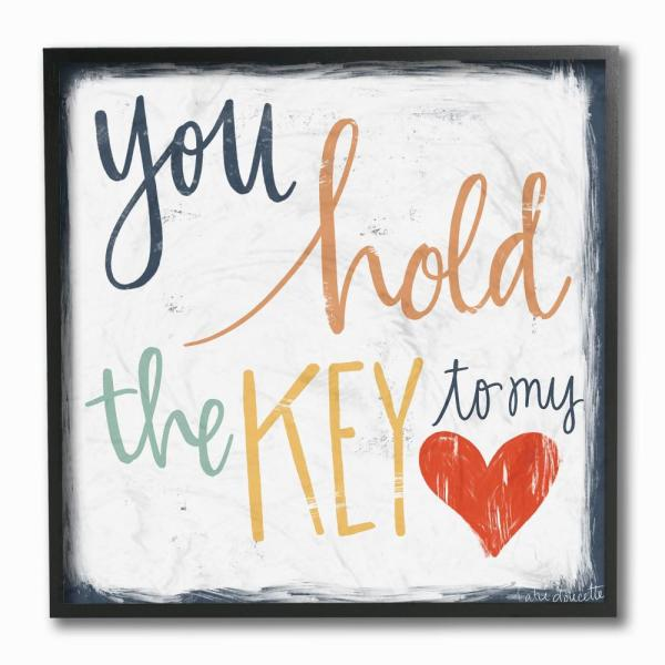 12 In X 12 In You Hold The Key To My Heart By Katie Doucette Wood Framed Wall Art
