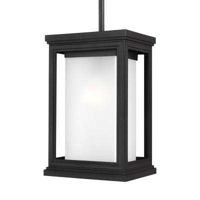 Roscoe 1-Light Textured Black Outdoor Wall Lantern