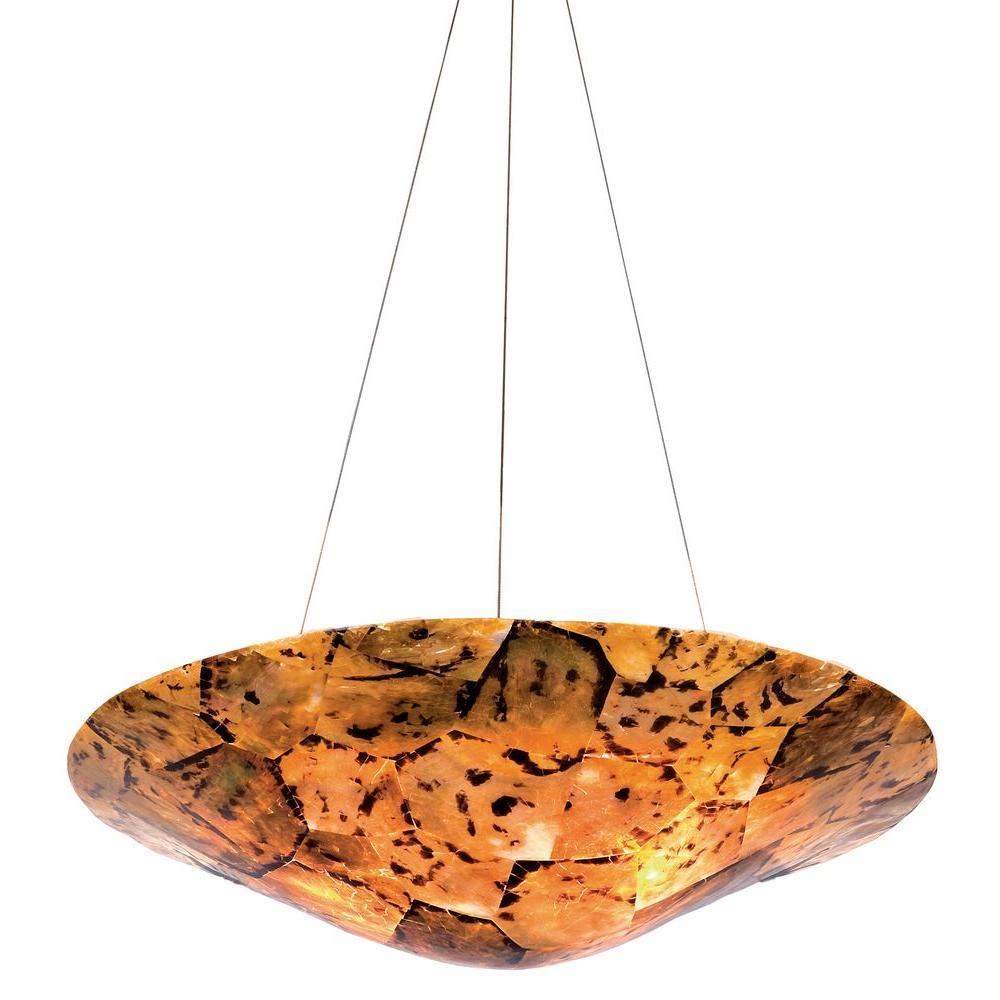Big 3-Light Chocolate Tiger Shell Pendant