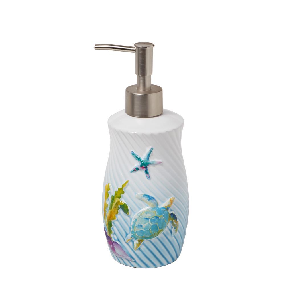 Watercolor Ocean Free Standing Lotion Dispenser in Multi