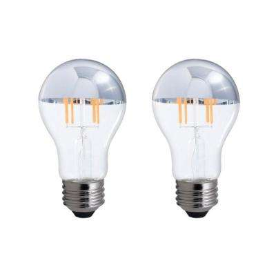 40W Equivalent Warm White Light A19 Dimmable LED Half Chrome Light Bulb (2-Pack)