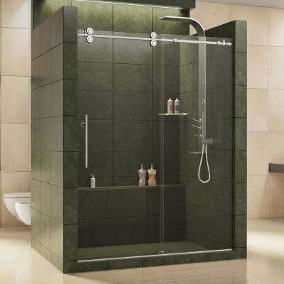 Enigma 56 in. to 60 in. x 79 in. Frameless Sliding Shower Door in Polished Stainless Steel and 1/2 in. Exclusive Glass