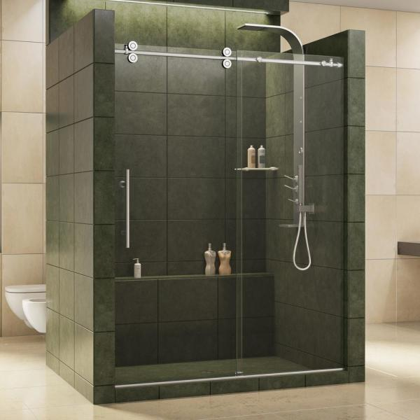 Enigma 56 to 60 in. x 79 in. Frameless Sliding Shower Door in Polished Stainless Steel