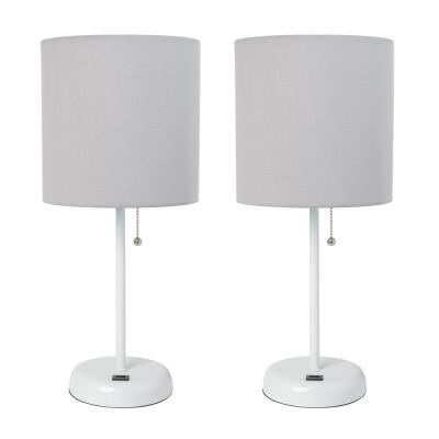 LimeLights 19.5 in. White Stick Lamp with USB Charging Port and Fabric Shade, Gray (2-Pack Set)