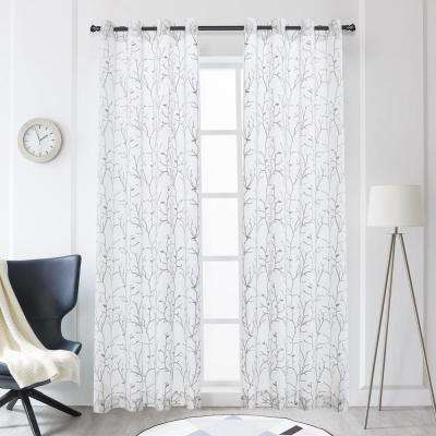Tess Grey Polyester Sheer Embroidery Curtain - 95 in. L x 54 in. W
