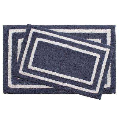 Reversible Cotton Soft Double Border Denim Blue 2-Piece Bath Mat Set
