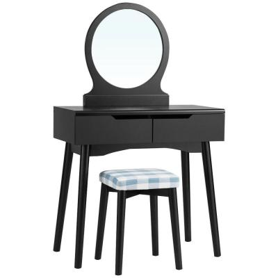 2-Drawer Black Vanity Set W/Round Mirror Cushioned Stool Makeup Dressing Table