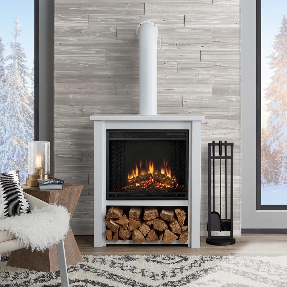 Great Freestanding Electric Fireplace In White