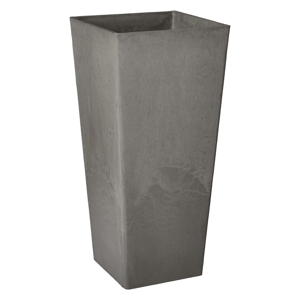 Arcadia Garden Products Contempo Tall Square 13 in. x 13 in. x 28 in. Cement PSW Pot