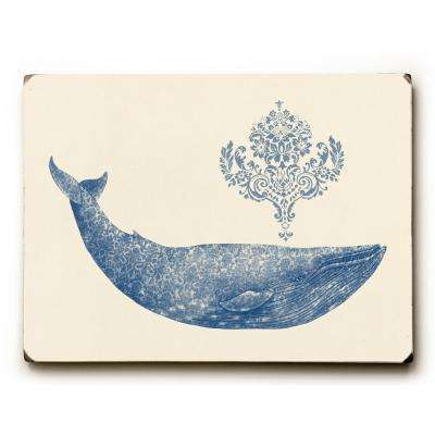"9 in. x 12 in. ""Damask Whale"" by Terry Fan Solid Wood Wall Art"