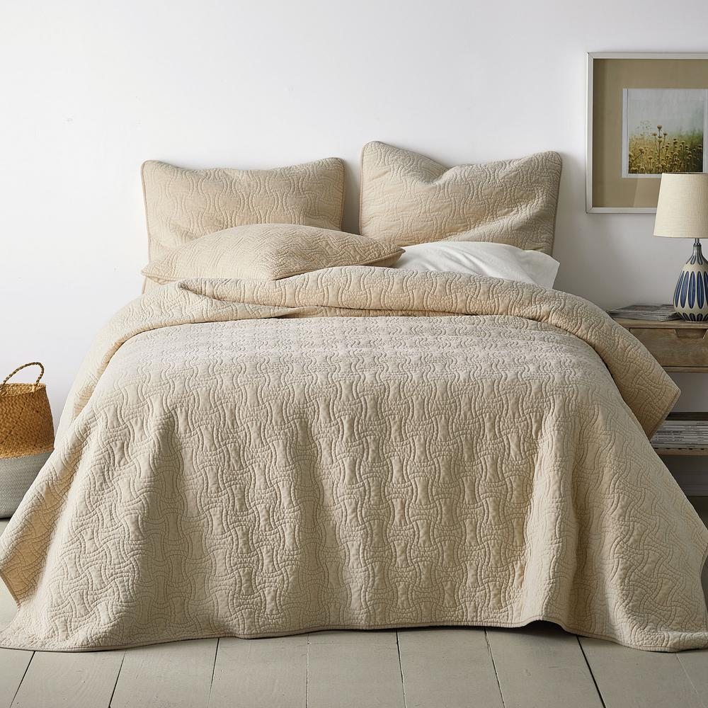 The Company Store The Company Store Trevor Washed Velvet Solid Sand Cotton Queen Coverlet, Brown