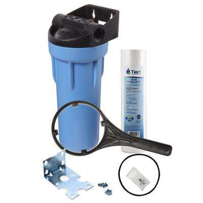10 in. Slim Polypropylene Whole House Water Filtration System with Pressure Release and Sediment Filter Kit