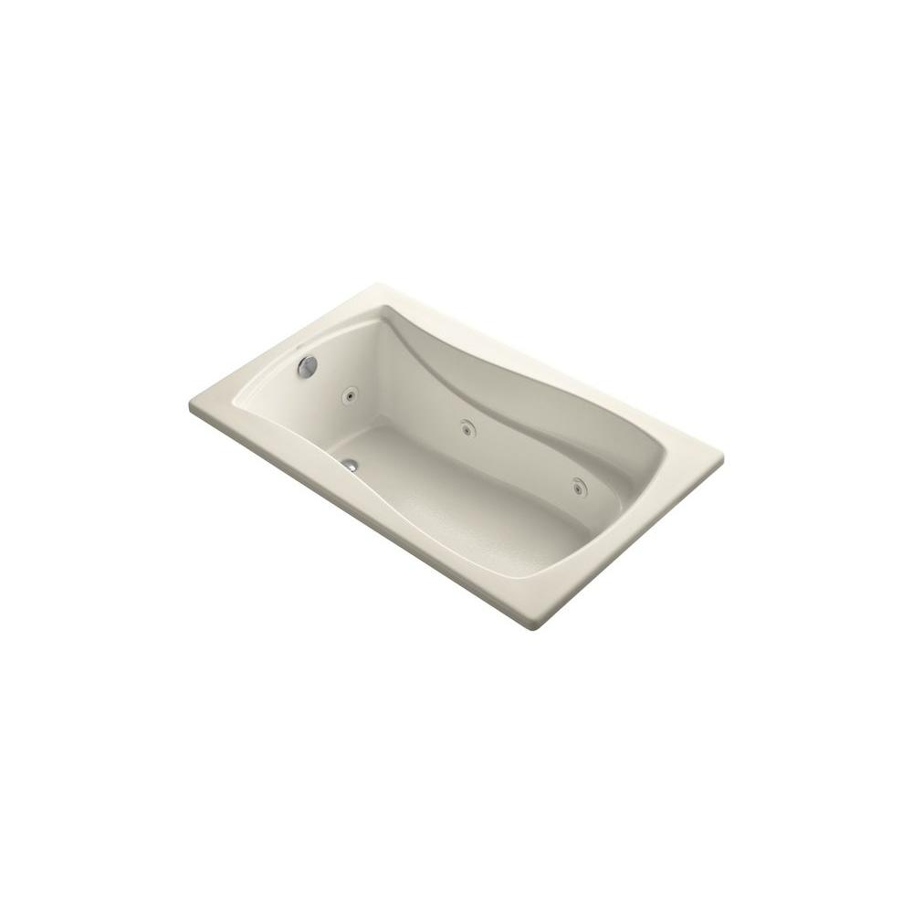 KOHLER Mariposa 5 ft. Rectangular Drop-in Whirlpool Bath Tub in Almond