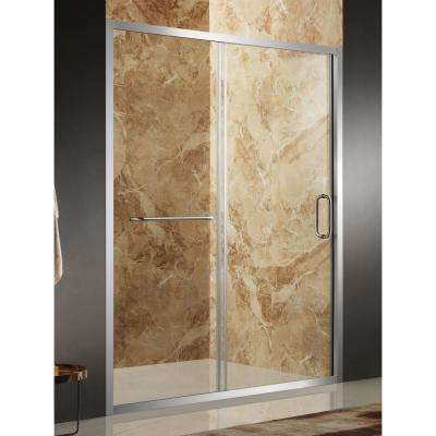 Regent 48 in. x 72 in. Framed Sliding Shower Door in Brushed Nickel with Handle