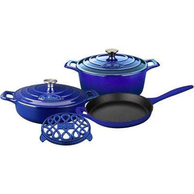 PRO 6-Piece Enameled Cast Iron Cookware Set with Saute, Skillet and Round Casserole with Trivet in High Gloss Sapphire