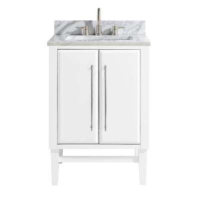 Mason 25 in. W x 22 in. D Bath Vanity in White with Silver Trim with Marble Vanity Top in Carrara White with White Basin