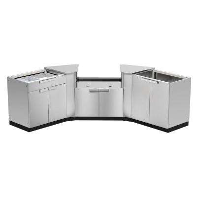 Stainless Steel Classic 5-Piece 86x36x86 in. Outdoor Kitchen Cabinet Set without Counter Tops