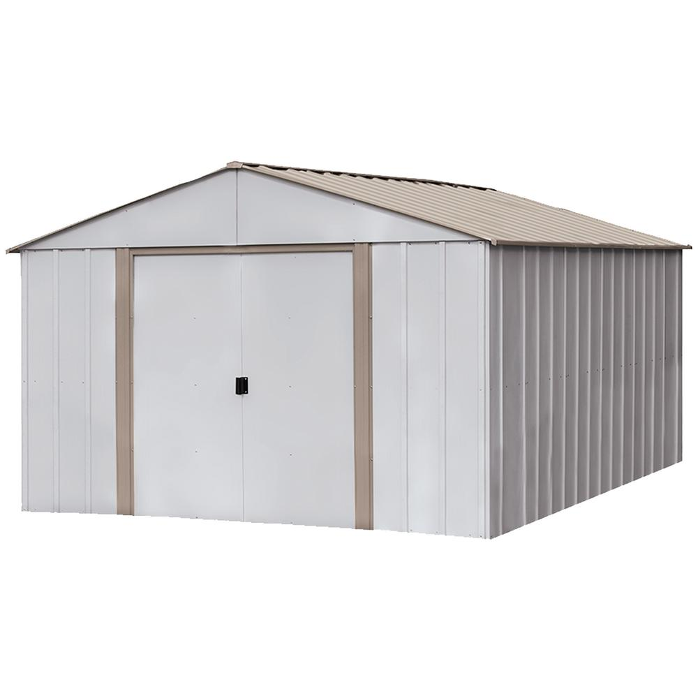 Oakbrook 10 ft. x 14 ft. Eggshell/Taupe High Gable Galvanized Steel