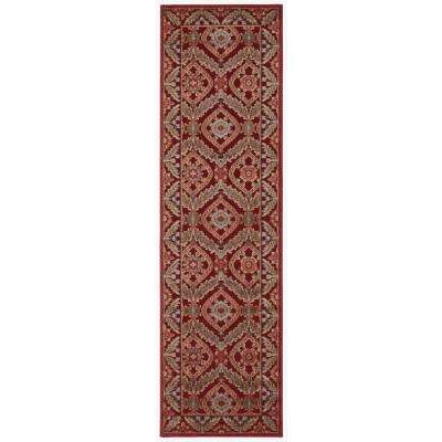 Graphic Illusions Red 2 ft. x 8 ft. Runner Rug