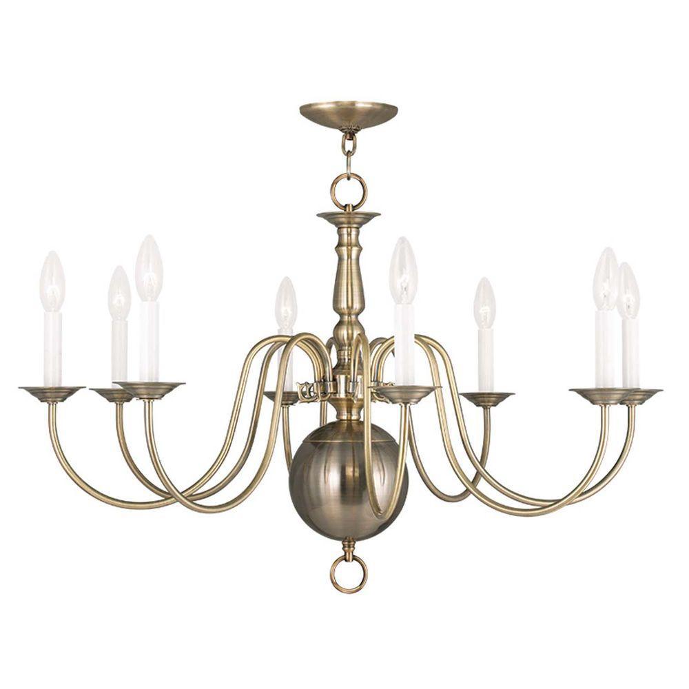 Williamsburgh 8 Light Antique Brass Chandelier