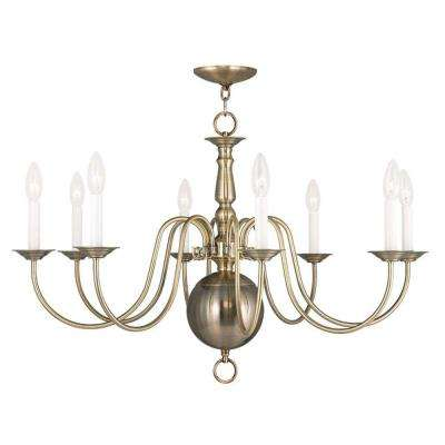 Providence 8-Light Antique Brass Incandescent Ceiling Chandelier
