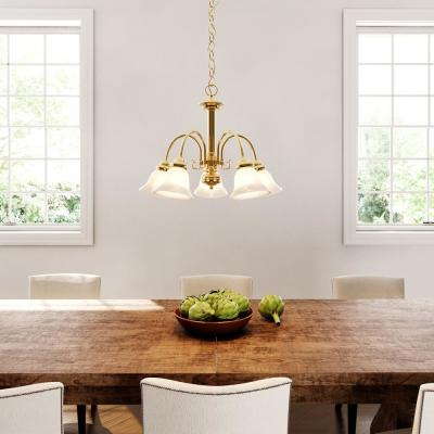 Sophrosyne 5-Light Polished Brass Chandelier with Alabaster Glass