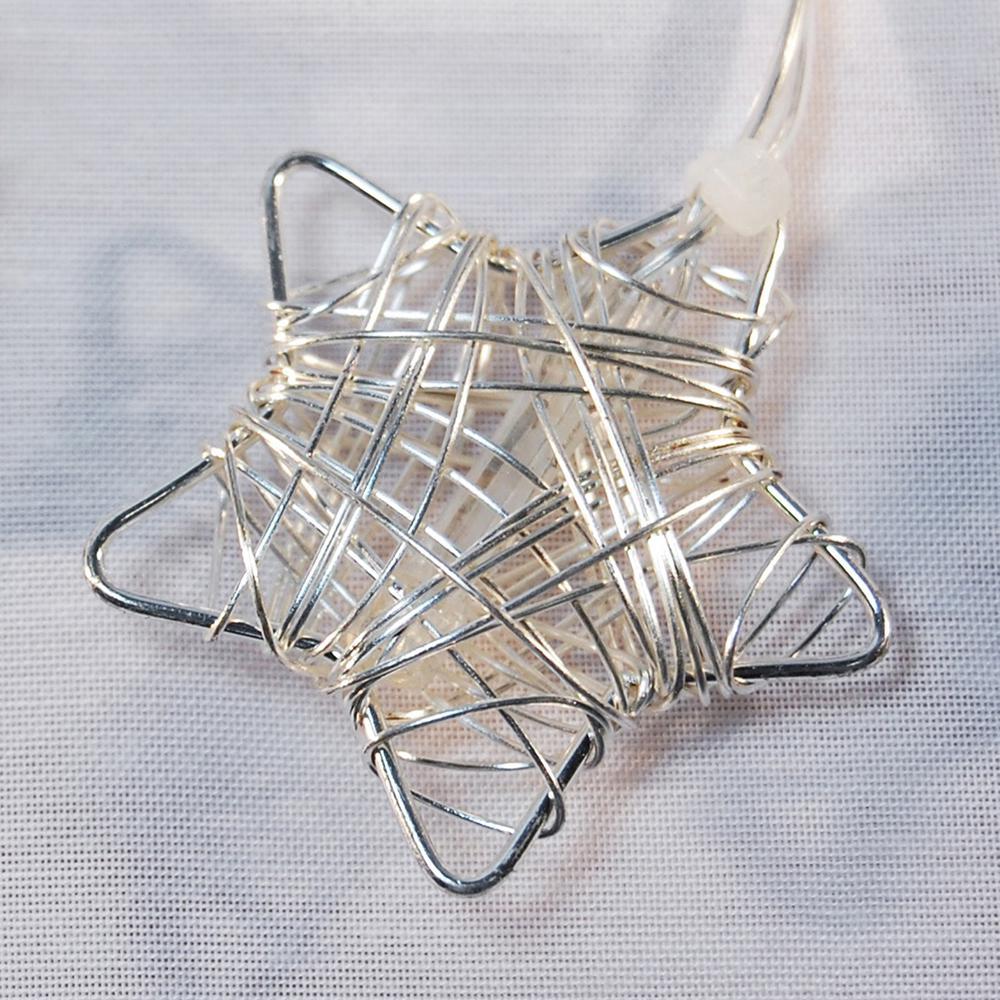 20- Light 16 ft. Silver Star Solar String Lights
