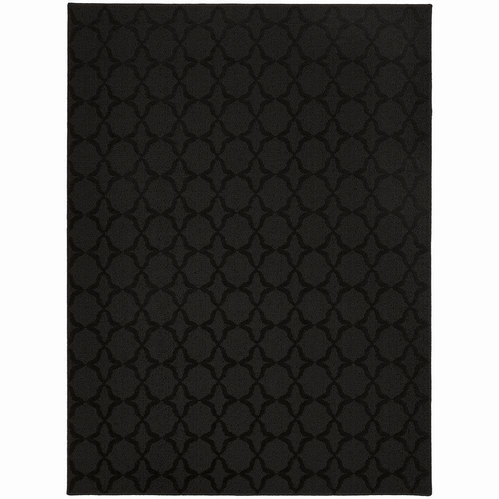 garland rug sparta black 7 ft 6 in x 9 ft 6 in area rug cl 10 ra 7696 15 the home depot. Black Bedroom Furniture Sets. Home Design Ideas