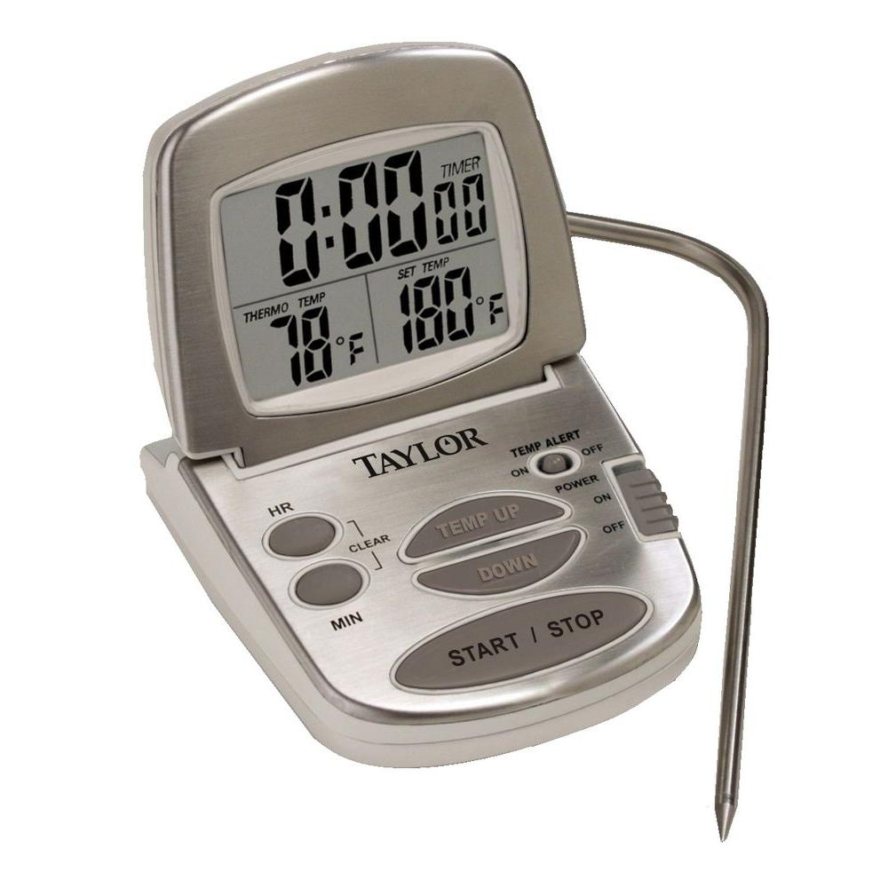 Taylor Gourmet Digital Silver LCD Food Thermometer with T...
