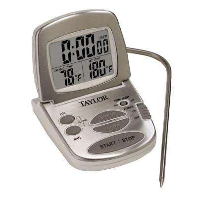Gourmet Digital Silver LCD Food Thermometer with Timer