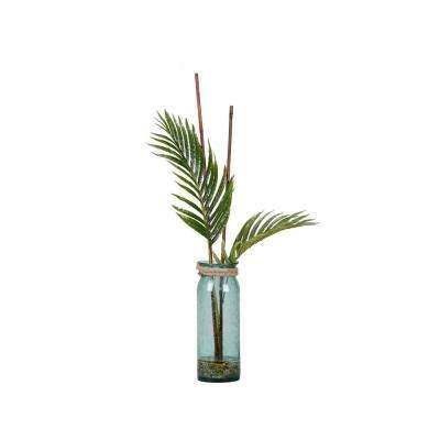 Indoor Large Cycas Palm Fronds in Blue Glass Vase