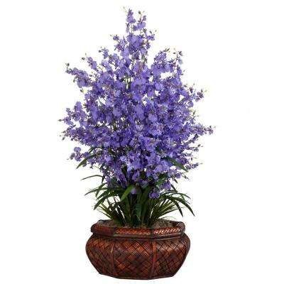 36 in. H Purple Large Dancing Lady with Round Vase Silk Arrangement