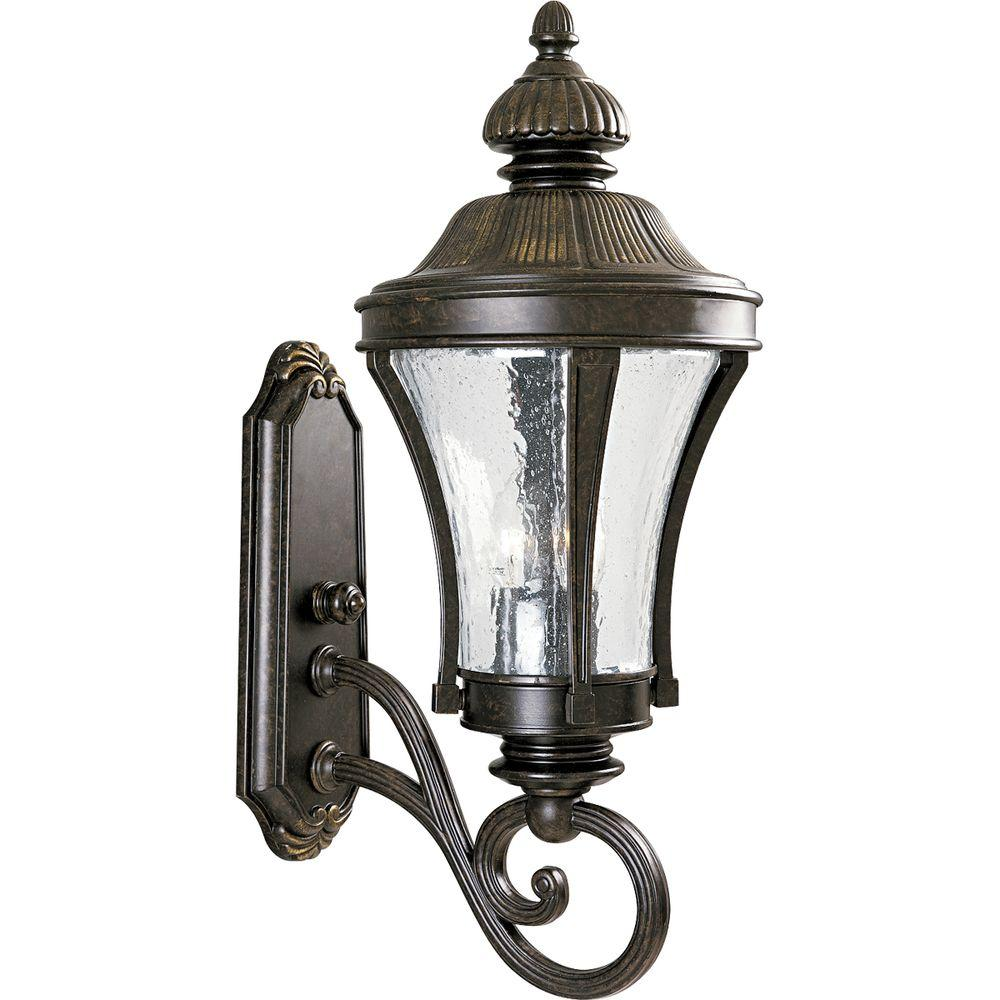 Nottington Collection 3-Light Outdoor Forged Bronze Wall Lantern