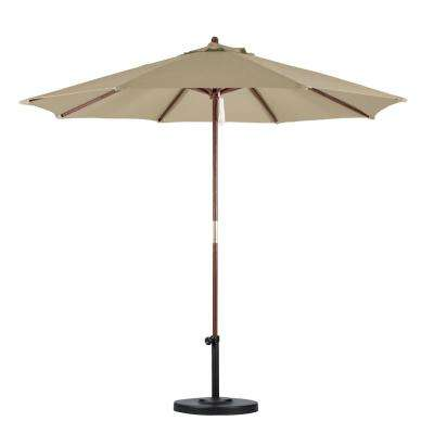 9 ft. Wood Pulley Open Patio Umbrella in Antique Beige Polyester