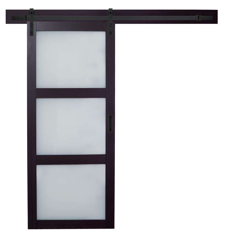 TRUporte 36 in. x 84 in. Espresso MDF 3 Lite White Frosted Glass ...