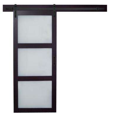 36 in. x 84 in. Espresso MDF 3 Lite White Frost Glass Wood Interior Barn Door with Sliding Door Hardware Kit