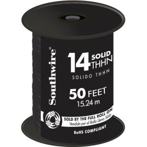 50 ft. 14 Black Solid CU THHN Wire