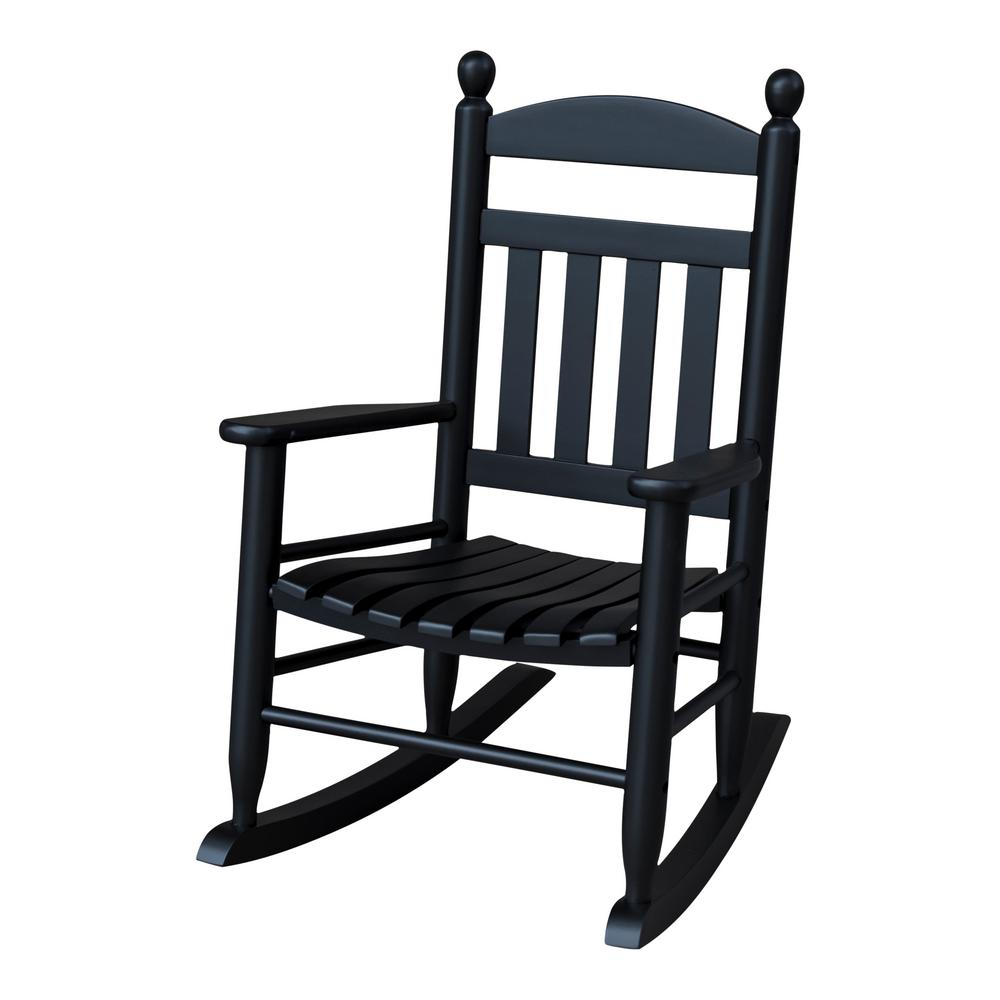Youth Slat Black Wood Outdoor Patio Rocking Chair 201sbf Rta The Home Depot