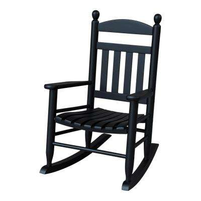 Youth Slat Black Patio Rocking Chair