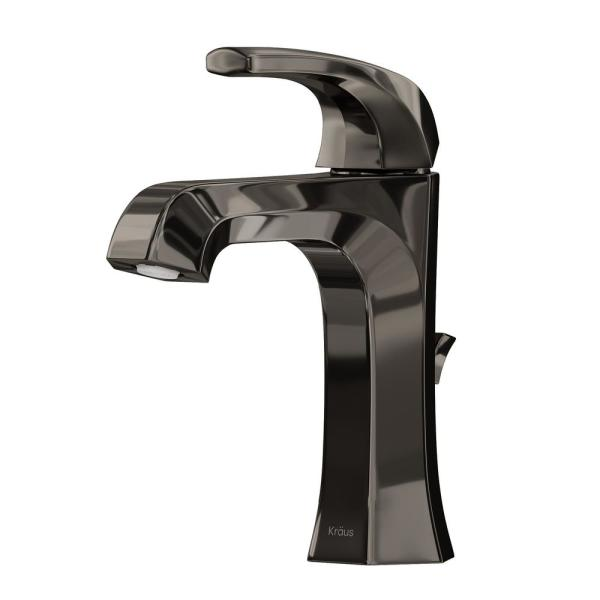 Esta Single Hole Single-Handle Basin Bathroom Faucet in Gray with Lift Rod Drain