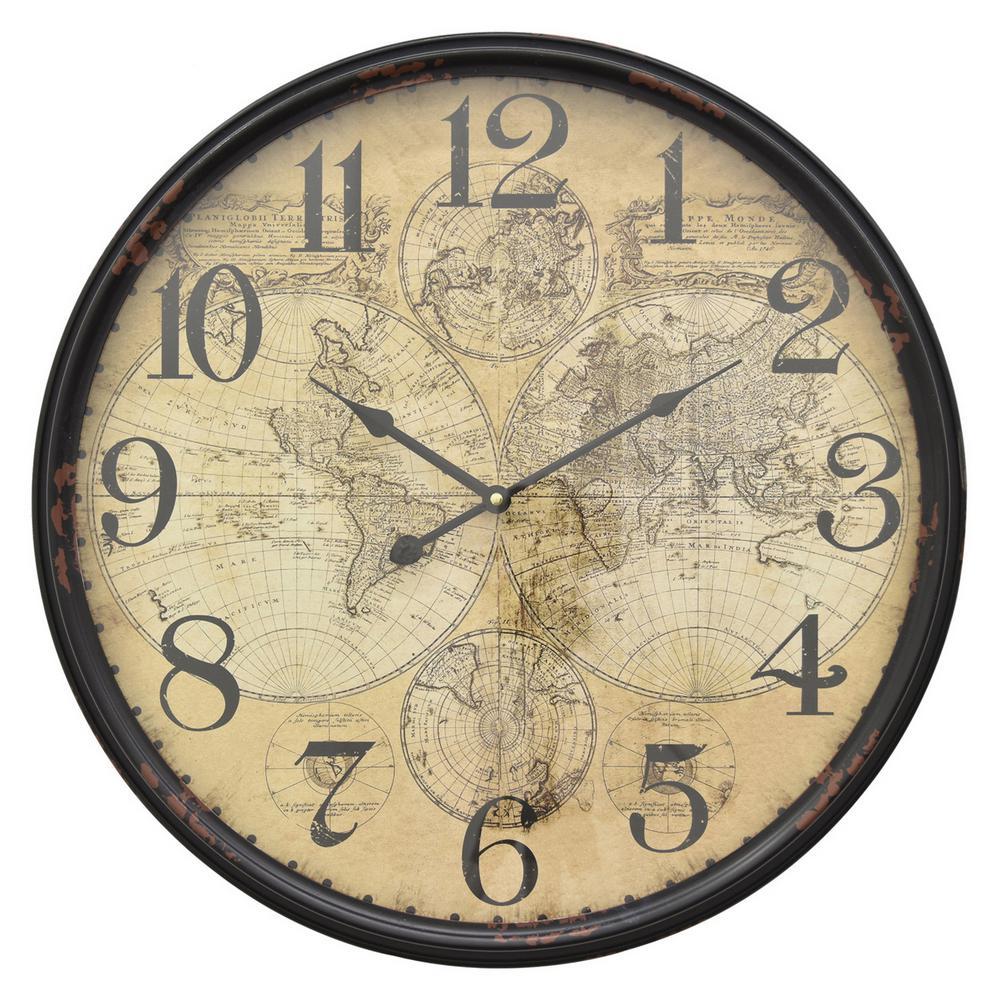 21.25 in. x 2.5 in. x 21 in. 25 in. Metal Wall Clock in Black