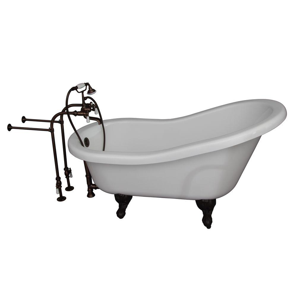 Barclay Products 5 ft. Acrylic Ball and Claw Feet Slipper Tub in White with Oil Rubbed Bronze Accessories